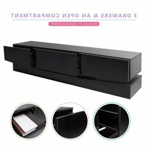 "70"" Arc-Shaped Stand High Cabinet w/LED Drawers HM"