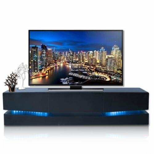 70 TV Stand LED Lights Wall Entertainment Stand w/3 Large Drawers EK