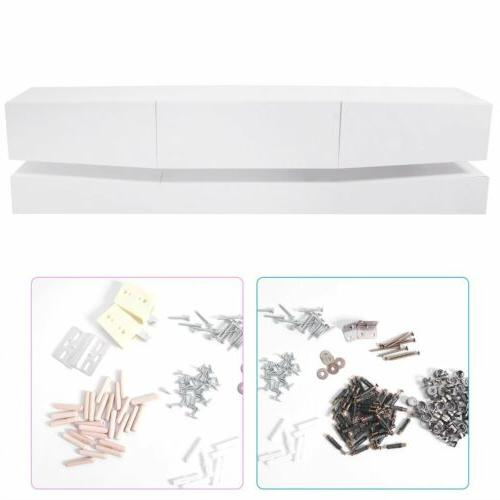 70inch Stand High Gloss Console w/LED Shelves 3 Drawers HM