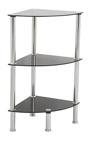 AVF S53-A Corner 3 Tier Shelving Unit in Black Glass & Chrom