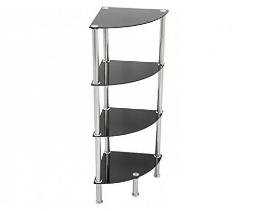 AVF S64-A Corner 4 Tier Shelving Unit in Black Glass & Chrom