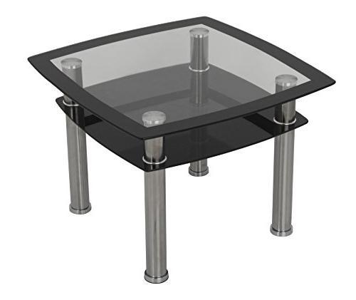AVF T22-A Black Glass & Chrome Side Table /  Lamp Table / En