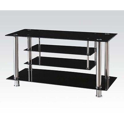 Acme Furniture 91062 Marabel TV Stand- Black Tempered Glass