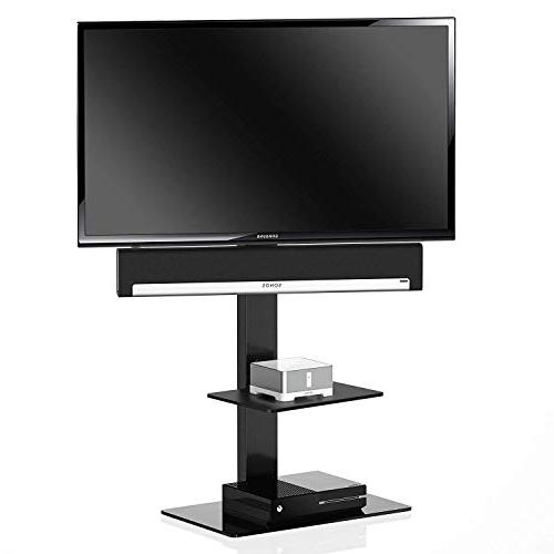 FITUEYES tv Stand with Two Shelves for Sony/Samsung/LG/Vizio Swivel Mount TT207001MB