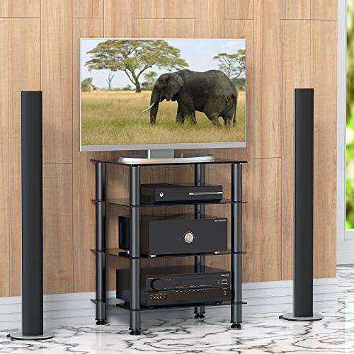 Fitueyes 4-tier Stand Audio/Video Component Cabinet with Glass Shelf /Apple Tv/xbox