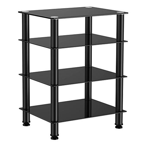 Fitueyes 4-tier Media Stand Audio/Video Component Cabinet with Glass Tv/xbox AS406001GB