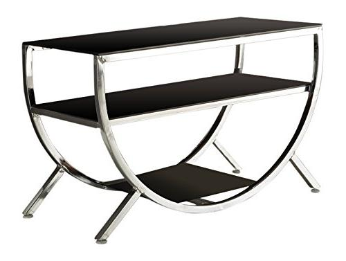 Kings Brand Furniture with Shelves TV Stand, Chrome