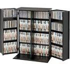 Media Storage Cabinet With Doors Locking Shelves CD DVD Orgn