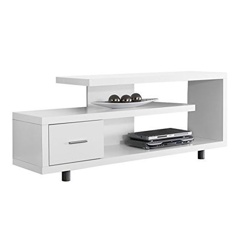 Monarch Specialties White 1 Drawer TV Stand, 60""