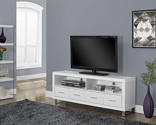 Monarch Specialties I 2518, TV Console with 4 Drawers, White