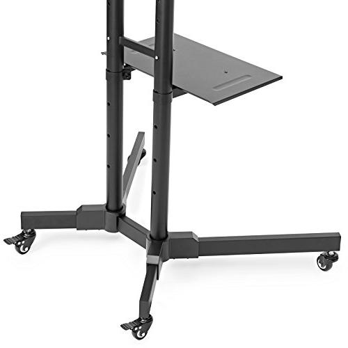 Mount Factory Rolling TV Stand for Screen, LCD, Curved TV's Universal with Wheels