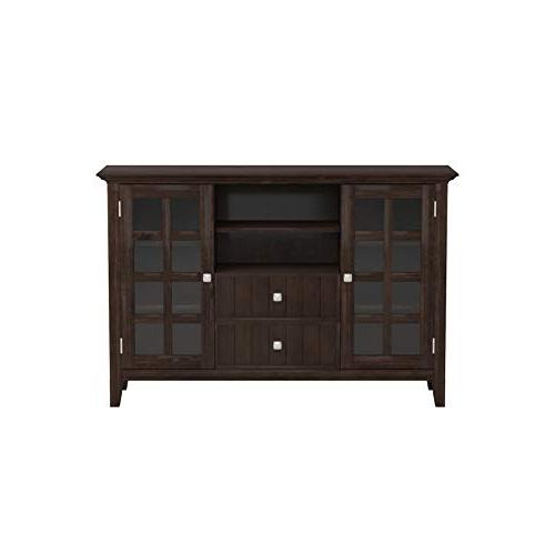 Simpli Solid Media Stand in Tobacco Brown For TVs 58