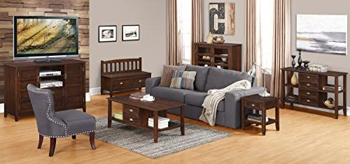 Simpli Home Solid Wood Brown TVs 60 inches