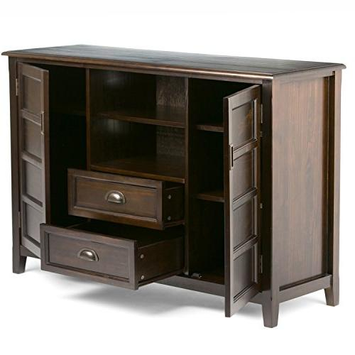 Simpli Solid Wood TV Media Stand in Brown For 60 inches