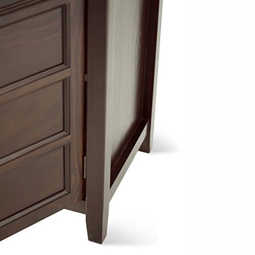 Simpli Home 3AXCBURTVS Solid Wood Media Brown 60 inches
