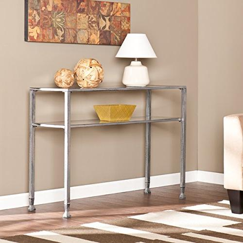 Southern Enterprises Glass Media Console Table, Silver Frame