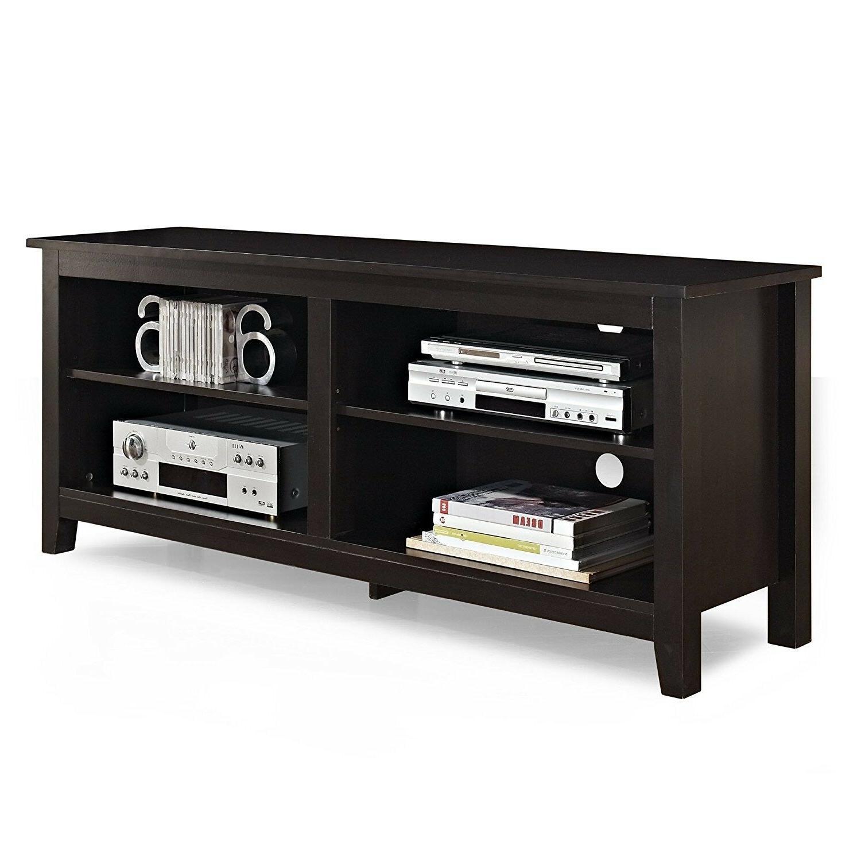 "WE Furniture 58"" Wood TV Stand Storage Espresso"