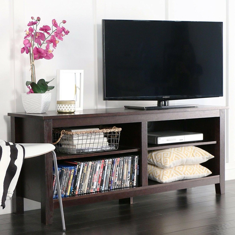 "WE Furniture 58"" Wood TV Stand Storage Console Espresso"