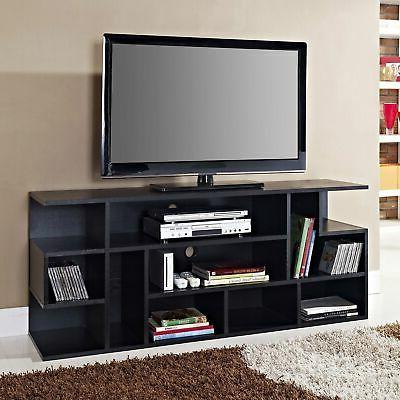 """WE Furniture 60"""" Black Wood TV Stand Console"""