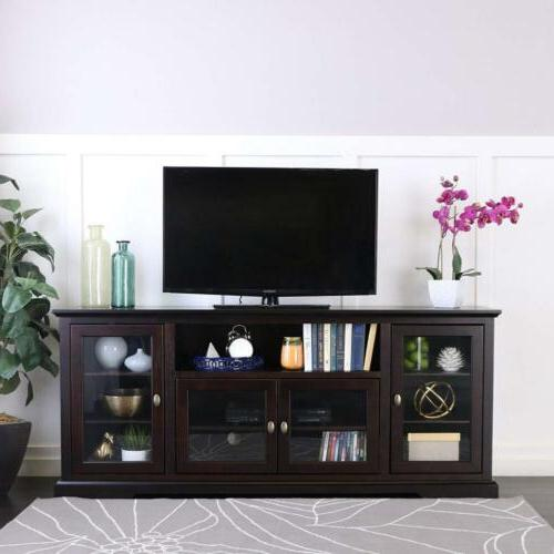 "WE Furniture 70"" Highboy Style Wood TV Stand Console, Espres"