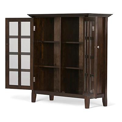 Simpli Home Solid Wood Medium Storage Cabinet, Rich Tobacco
