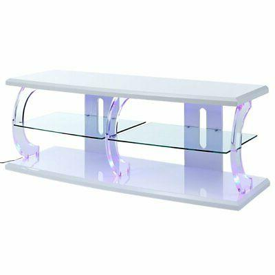 acme aileen led tv stand in white