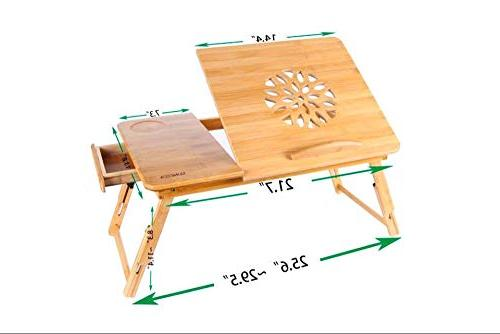 Adjustable Laptop Desk Bamboo Bed Tray Drawer Wood