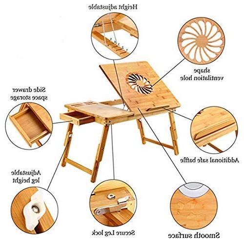 Adjustable Laptop Desk Bamboo Breakfast Bed Tray Drawer Wood
