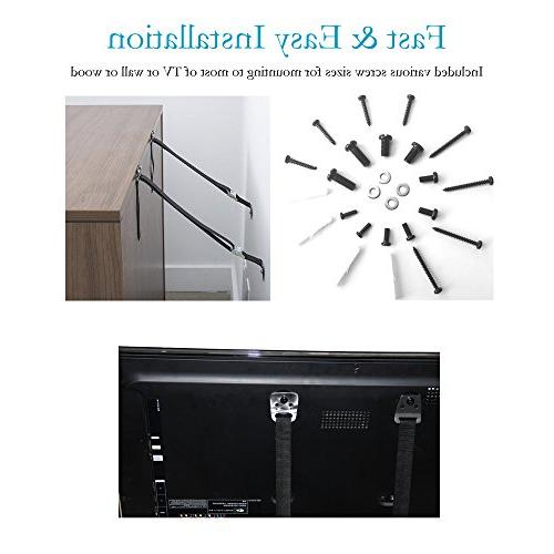 Anti TV Earthquake Proof Heavy Duty Mount Baby Proofing Flat Screen TV, Cabinets, Wardrobe, Bookcase | Metal Parts Included 2