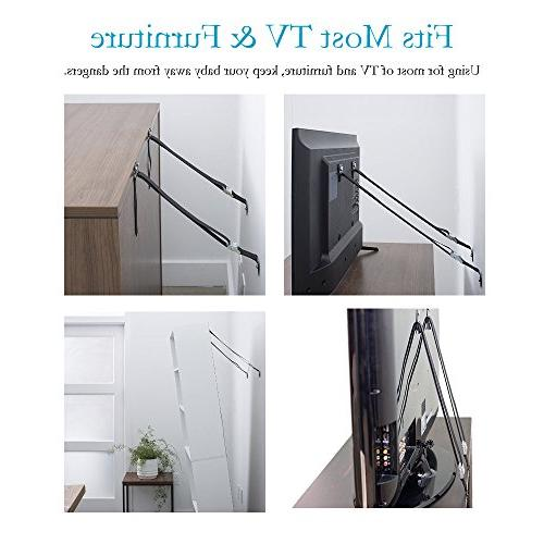 Anti Tip TV Straps Earthquake Proof Duty Anchor For Baby Proofing TV, Dressers, Bookcase | and Metal Parts Included - 2