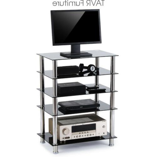 Audio Component Rack AV Tower Media Stereo Stand Electronics