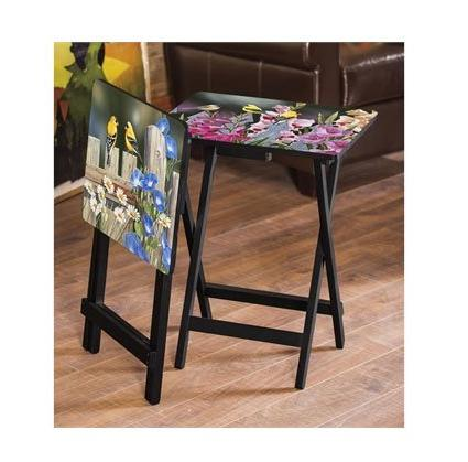 Birds Flowers Tray Tables, of 4