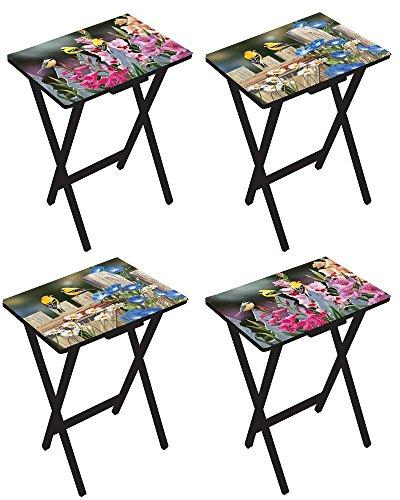 birds flowers tv tray tables