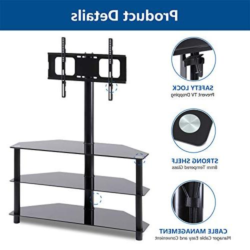 Rfiver Black TV Stand Swivel Mount Bracket 32 to 65 inch LED, LCD, Plasma Flat/Curved Screen TVs, Tempered