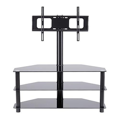 Rfiver Black TV Mount Bracket to 65 inch LCD, and Flat/Curved Tempered Shelves Audio