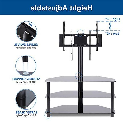 Rfiver Black Corner TV Stand Swivel Mount to LCD, OLED Plasma Flat/Curved Screen 3-Tier Tempered Shelves Audio