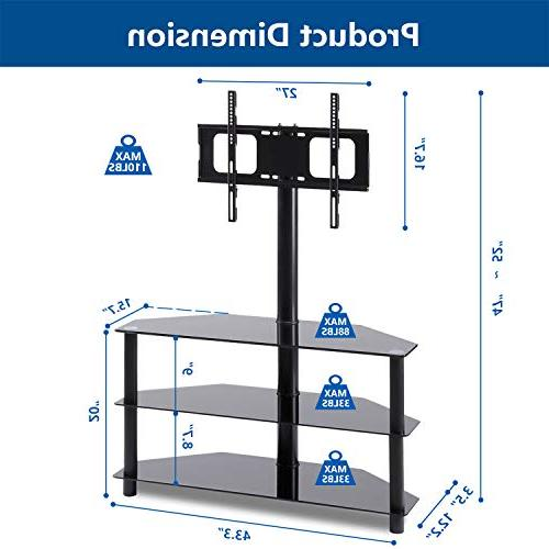 Rfiver Black Corner Floor TV Swivel Mount Bracket to inch LCD, and Flat/Curved Screen Tempered Glass Audio