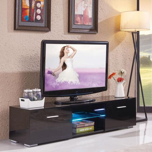 High Gloss Black LED Shelves TV Stand Unit Cabinet w/2 Drawe