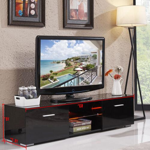 63'' High Gloss Shelves TV Stand Unit Cabinet Furniture