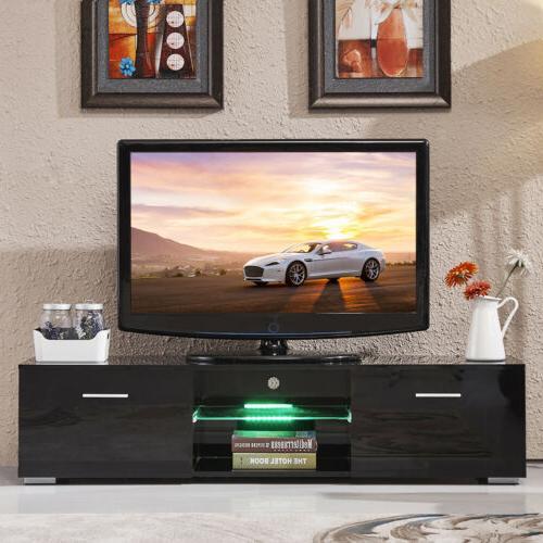 """63"""" Gloss LED Shelves Unit Drawers Furniture"""