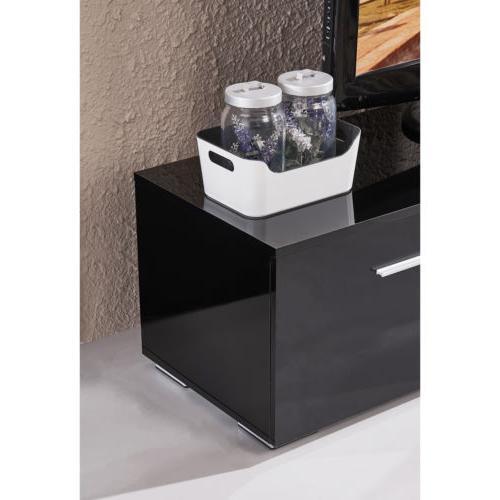 High Gloss Black Shelves TV Unit Cabinet Furniture