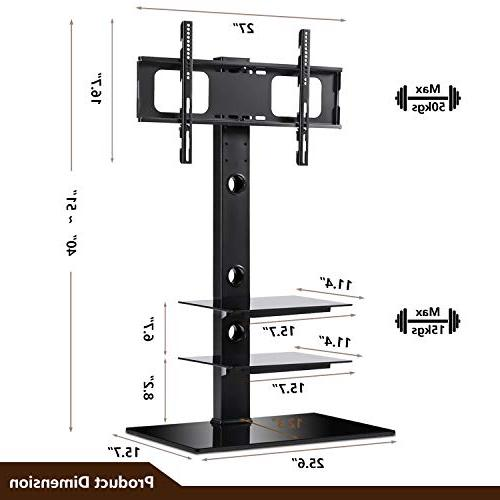 Stand with Swivel Bracket Mount to Screen TV, and Tempered Shelves