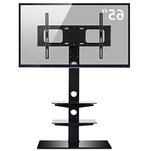 Rfiver Black Stand Swivel Bracket Mount for 32 to Screen TV, and Tempered Glass Shelves
