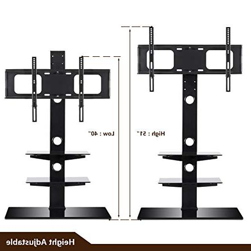 Rfiver Black Floor Stand with Bracket Mount for 32 to inch and Three Glass Shelves