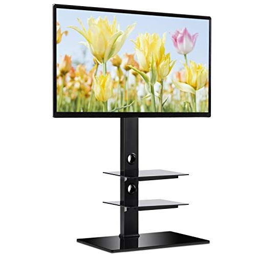 Rfiver Black Stand Bracket Mount for to 65 inch Flat/Curved Screen Height and Shelves TF2002