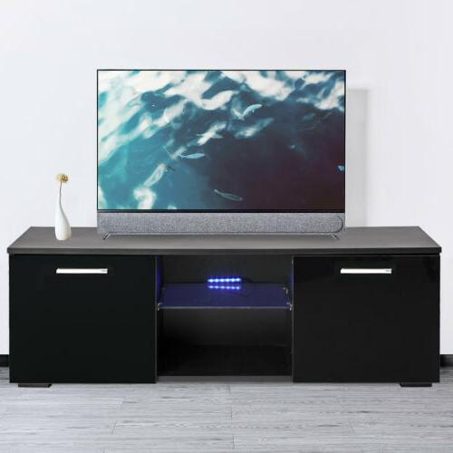 Black TV Stand Wood Console Cabinet Entertainment Media Stor