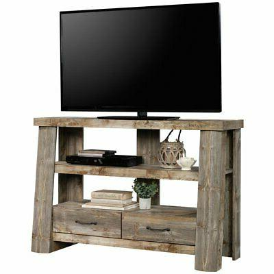 Sauder Mountain Wood TV Stand in Rustic