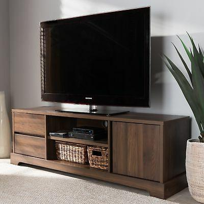 contemporary walnut brown finished wood tv stand