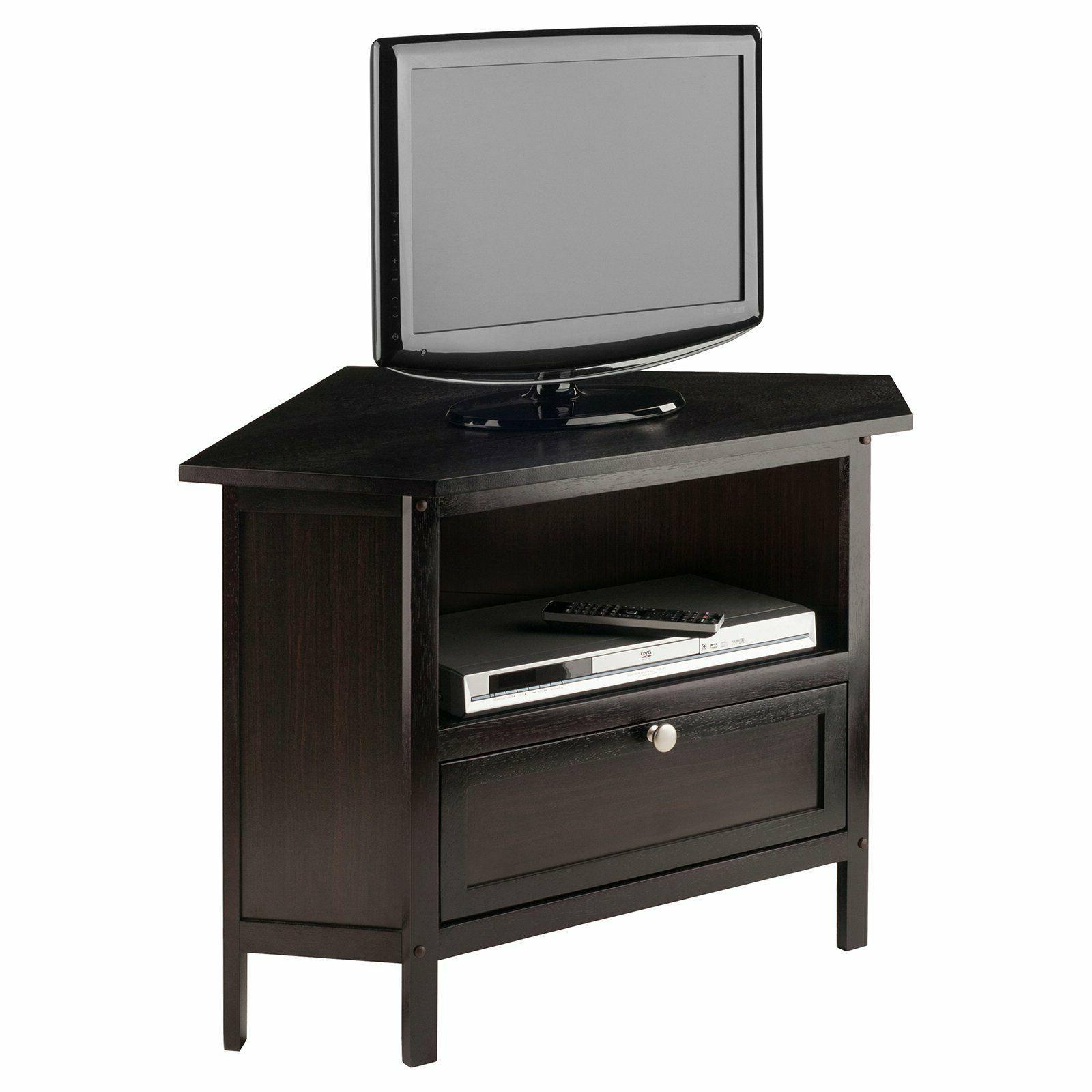 Corner TV Console Cabinet Entertainment Open Shelf Wood