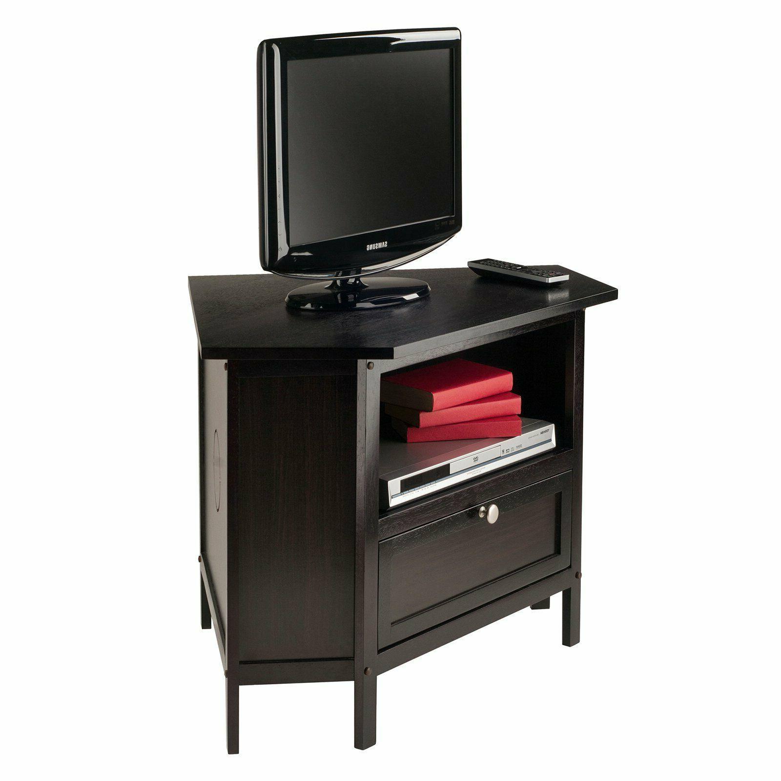 Corner Console Cabinet Open Shelf Wood